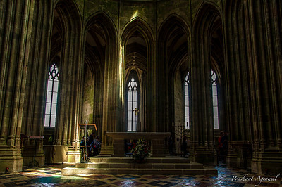 Inside view of the Abbey Church at Mont Saint Michel in Normandy in France